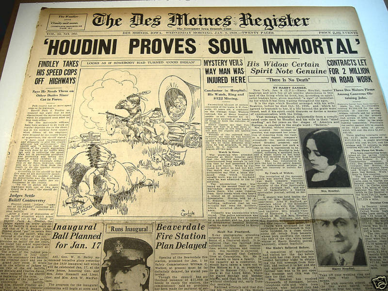 Story of Houdini returning in a seance from his wife.